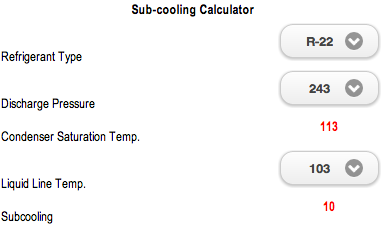 Sub-Cooling Calculator
