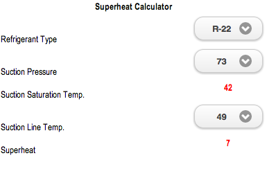Superheat Calculator